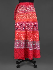 Red Printed Long Wrap Skirt - Soundarya