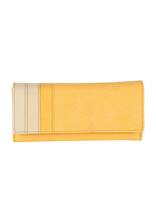 yellow faux leather wallet