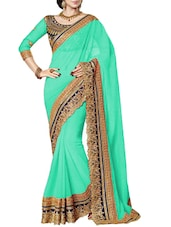 green georgette saree -  online shopping for Sarees