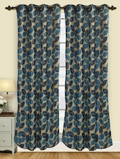 Leaf Printed Polyester Door Curtain (pack Of 2) - Deco Curtain