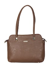 Brown Rectangular Faux Leather Handbag - Bern