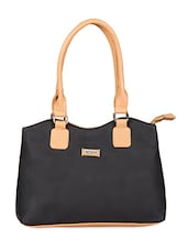 Black N Beige Faux Leather Handbag - Bern