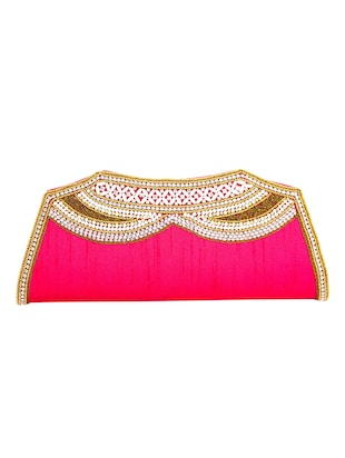 pink leatherette (pu) ethnic clutch