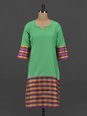 Green With Multicolored Striped Crepe Kurta - Free Living