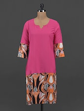 Abstract Print Pink Crepe Kurta - Free Living