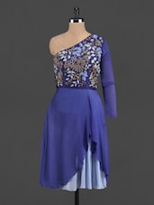 Embroidered Blue One Shoulder Dress - Zzaaki