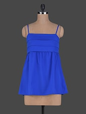 Blue Cami Neck Poly Crepe Top - Wildrose