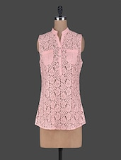Mandarin Collar Sleeveless Lace Top - Wildrose