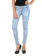 Ice Blue Denim Distressed Jeans - Fungus