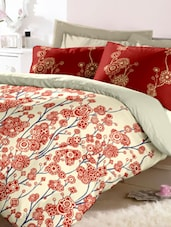 Off-White Floral Printed Cotton Bedsheet Set - Raymond Home