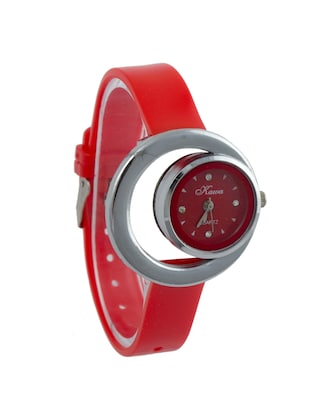 Addic Kawa Red Dial And Strap With Circular Dial And Case Watch For Women