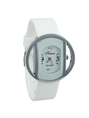 Addic Kawa White Color Strap And Dial With Circular Silver Case Watch For Women