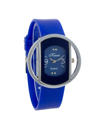 Addic Kawa Blue Color Strap And Dial With Circular Silver Case Watch For Women