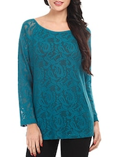 Teal Blue Cotton Lace Top - Mustard