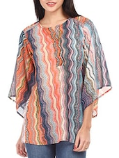 Multicolored Printed Polyester Kaftan Top - Mustard