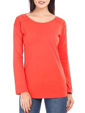 Solid Tangerine Lace Yoke Cotton Top - Mustard