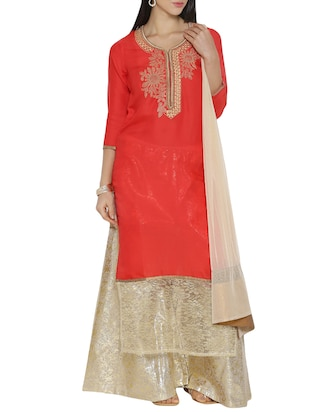 red color,  embroidered stitched suit, with salwar and dupatta