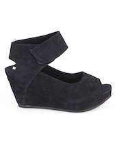 Black Open Toe Wedges - Soft & Sleek