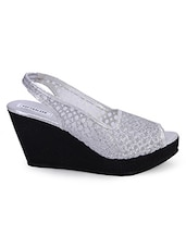 Silver Open Toe Wedges - Soft & Sleek