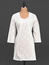 Quarter Sleeve Chikankari Cotton Kurta - Saadgi