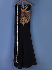 Black Embroidered Anarkali Suit Set - Styles Closet