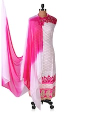 Pink And White Embroidered Suit Set - Styles Closet