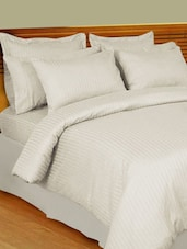 Pencil Striped White King Size Flat Bedsheet Set - Just Linen