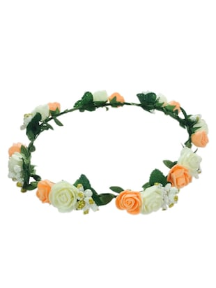 Loops n knots Floral tiara orange & White Tiara/Crown/Headband For Girls & Women-Hair Accessories For Birthday ,Party & Wedding
