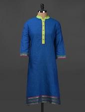 Dobby Weave Quarter Sleeve Cotton Kurta - Adyana