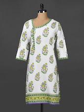 Floral Ethnic Print Contemporary Neck Cotton Kurta - Adyana