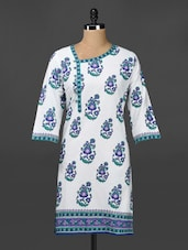 Floral Print Ethnic Bottom Cotton Kurta - Adyana