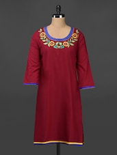 Floral Embroidered Neck Quarter Sleeve Cotton Kurta - Adyana