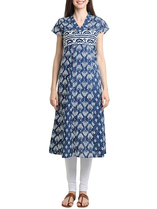 indigo cotton printed kurta