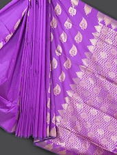 Traditional Purple Art Silk Saree - Prabha Creations