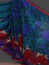 Full Floral Printed Blue Saree - Bunny Sarees