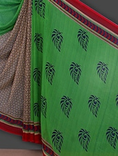 Leaf Inspired Printed Georgette Saree - Bunny Sarees