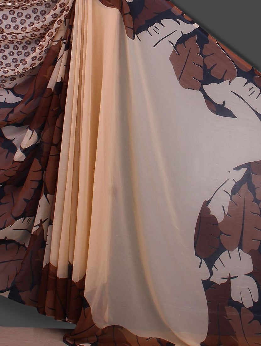 Floral & Leaf Printed Beige Saree - Bunny Sarees