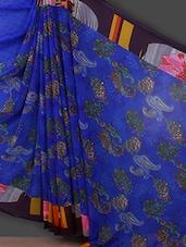 Blue Paisley Printed Georgette Saree - Bunny Sarees