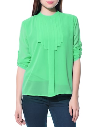 Pleated poly georgette sea greeen top