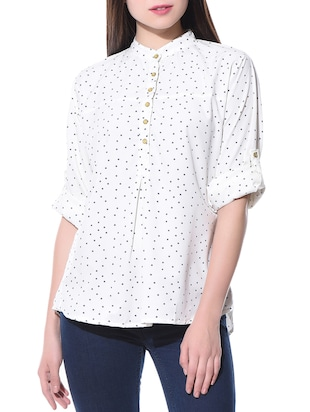 Little Star poly crepe white top