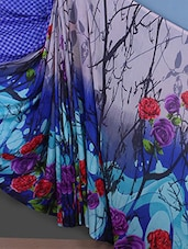 Floral Printed Georgette Blue Saree - Bunny Sarees