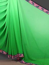 Paisley Border Green Ombre Georgette Saree - Bunny Sarees