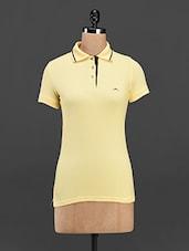 Yellow Cotton Knit Polo T-shirt - Meira