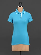 Sky Blue Cotton Knit Polo T-shirt - Meira