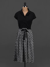 Shirt Collar Chevron Print Midi Dress - Meira