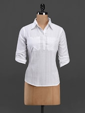 White Shirt Collar Cotton Top - Meira