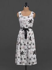 Floral Print Round Neck Crepe Dress - Meira