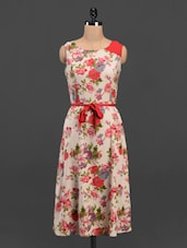 Floral Print Round Neck Sleeveless Crepe Belted Dress - Meira