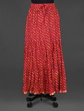 Lehariya Print Crinkled Red Cotton Long Skirt - Indian Shoppe