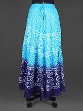 Jaipuri Bandhej Blue Cotton Midi Skirt - Indian Shoppe